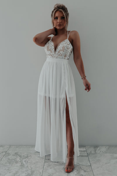 All Your Love Maxi: White/Nude