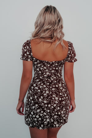 Right Here Waiting Dress: Brown/Ivory