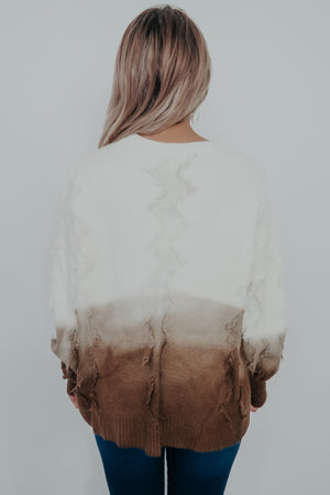Fade Into You Sweater: Taupe Ombré