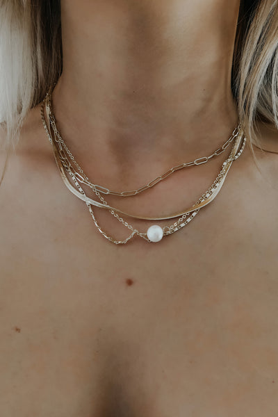 In It For Love Necklace: Gold/Pearl