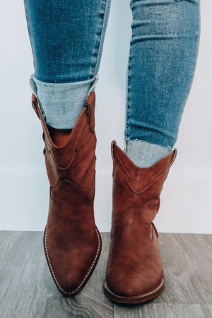 Aim To Please Booties: Dark Brown