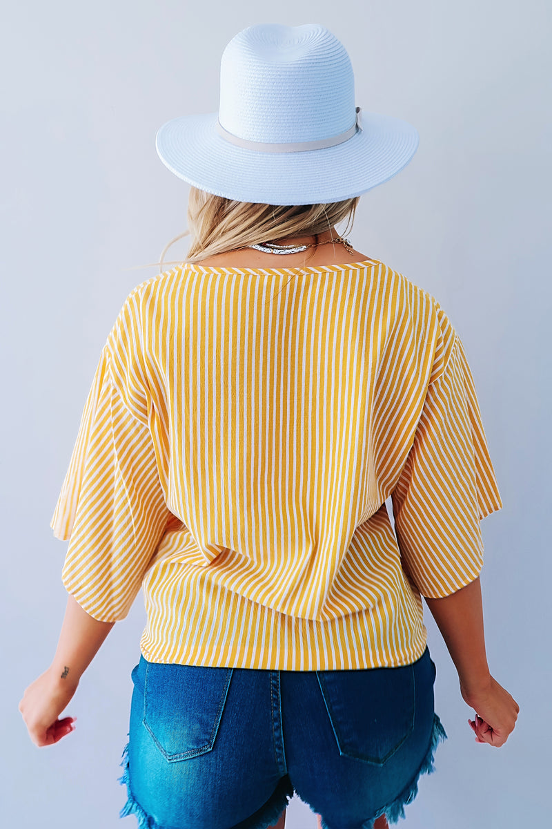 Make My Day Blouse: Yellow/White