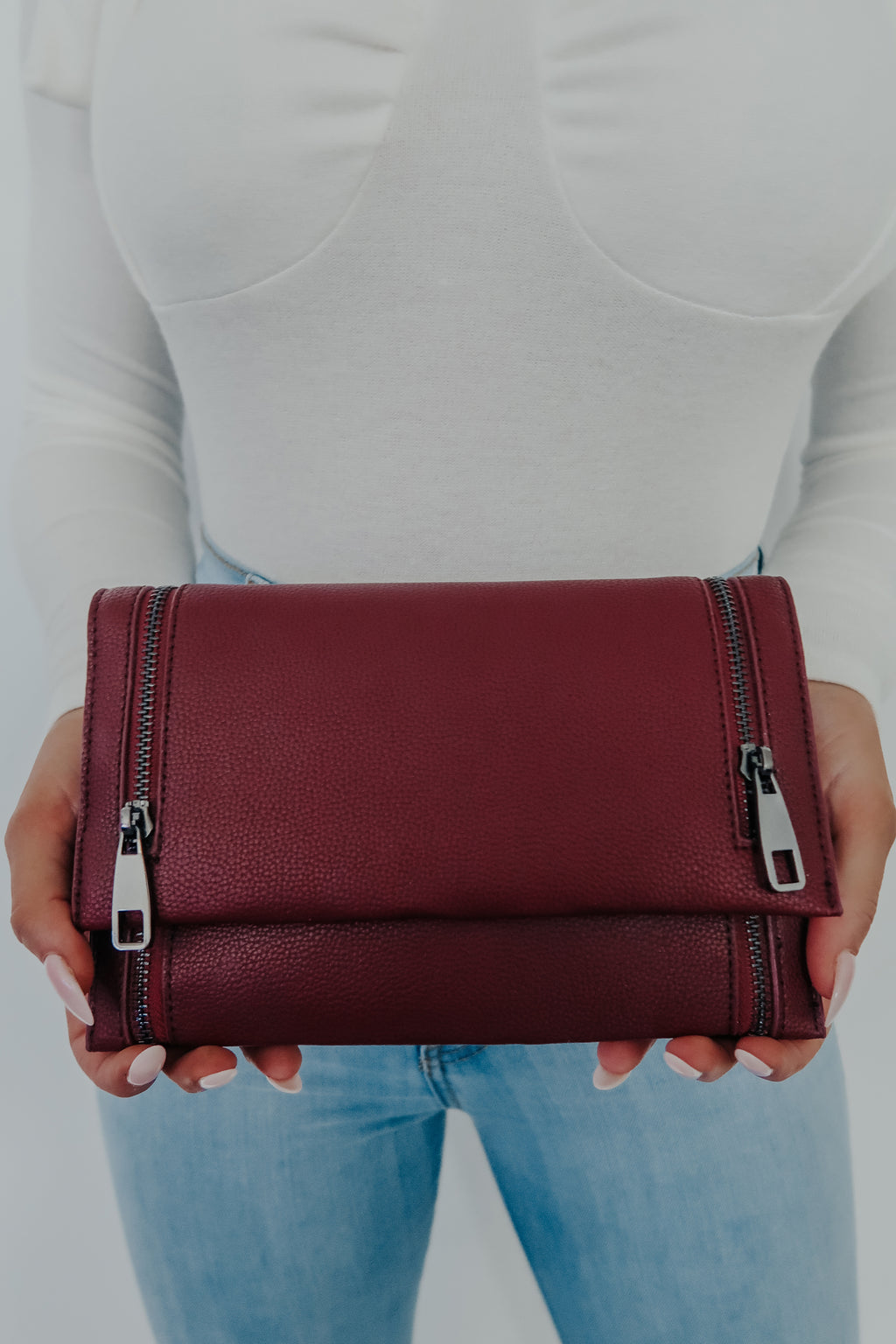 So Little Time Clutch: Burgundy