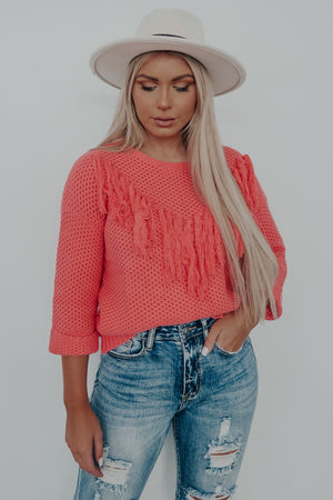 Time For Sunshine Sweater: Neon Coral