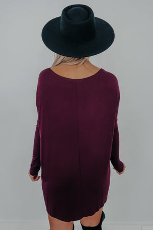 Casually Comfy Dress: Plum