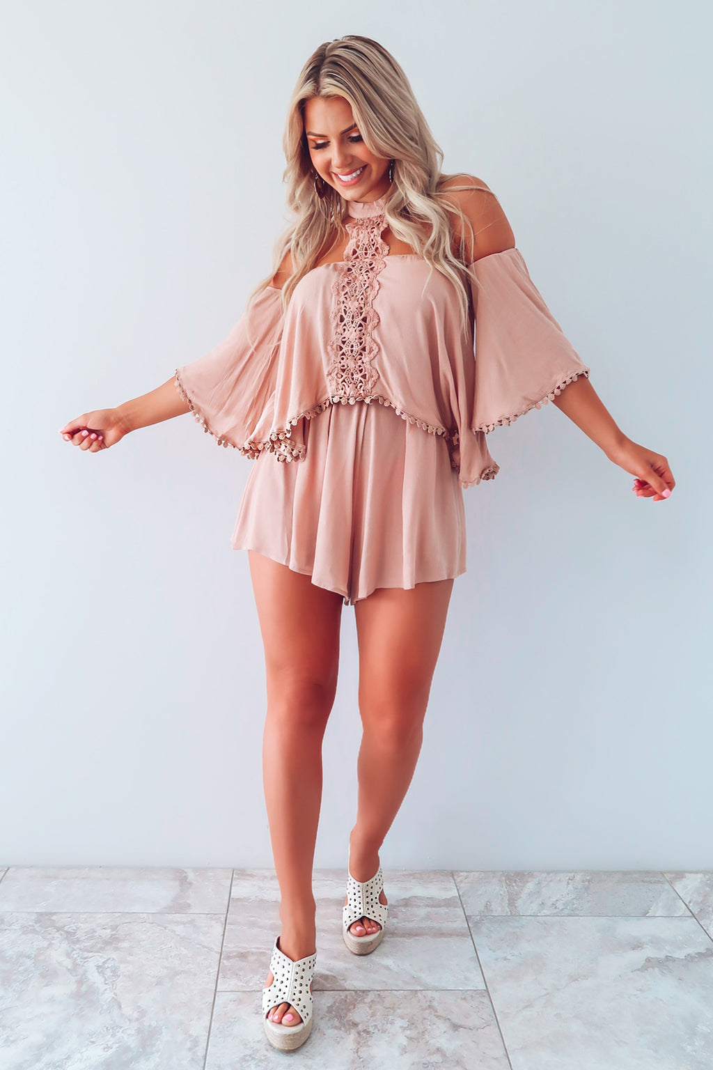 My First Impression Romper: Mocha