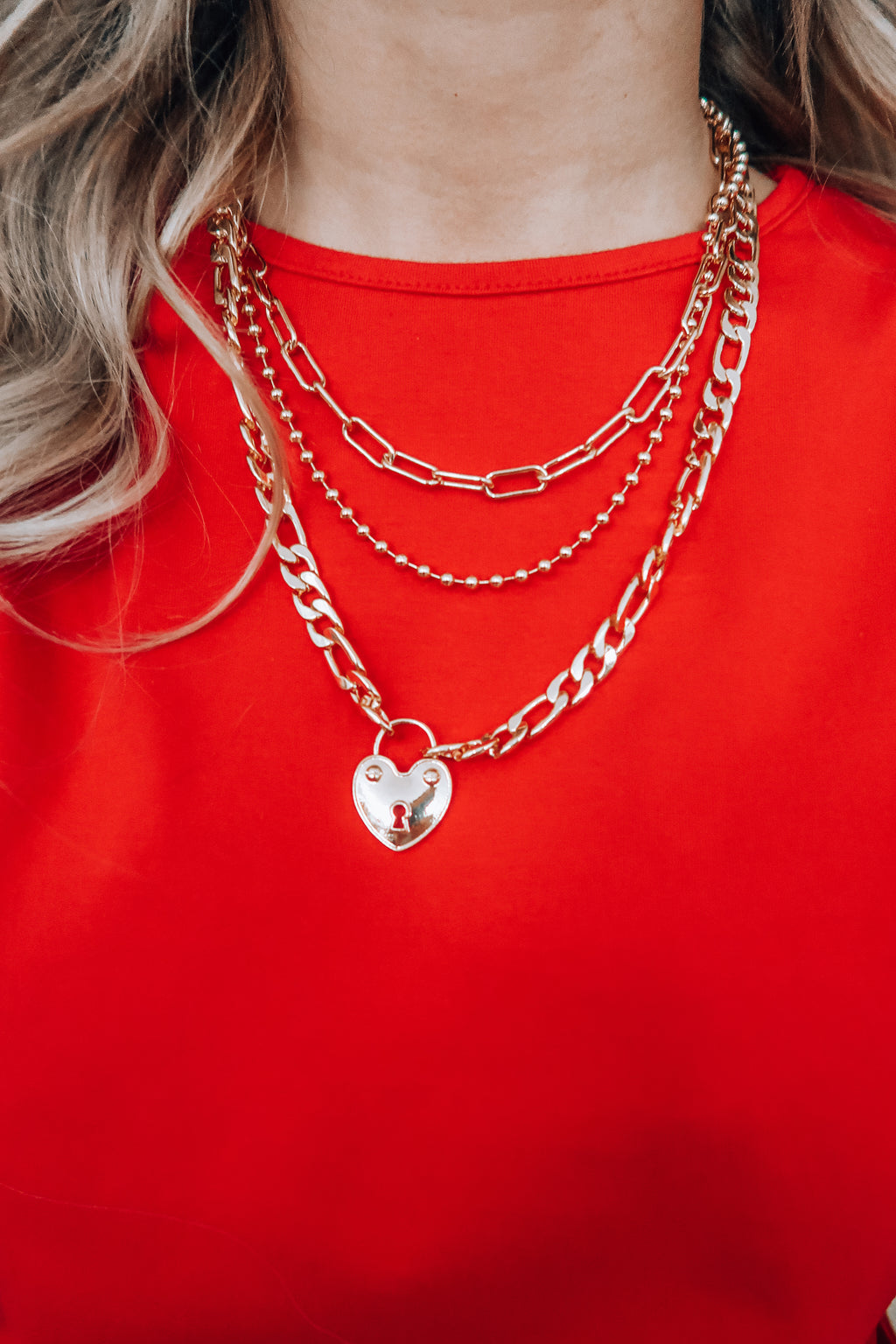 Heart Locket Necklace: Gold