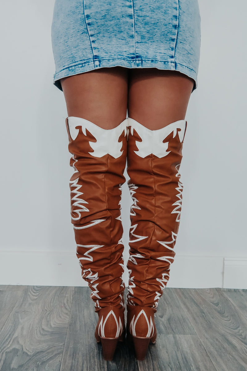 Walk All Over You Boots: Tan/Ivory