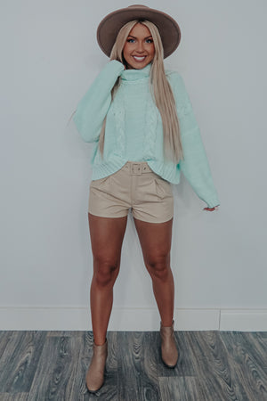 Fall On Repeat Sweater: Mint