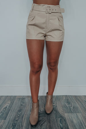 Stay Awhile Shorts: Beige