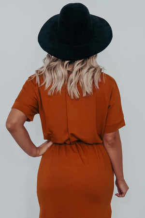 Fall Is In The Air Midi Dress: Burnt Orange