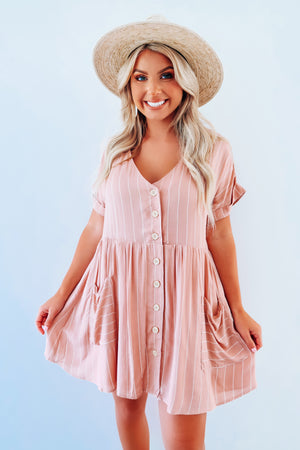 Be True Dress: Blush/White