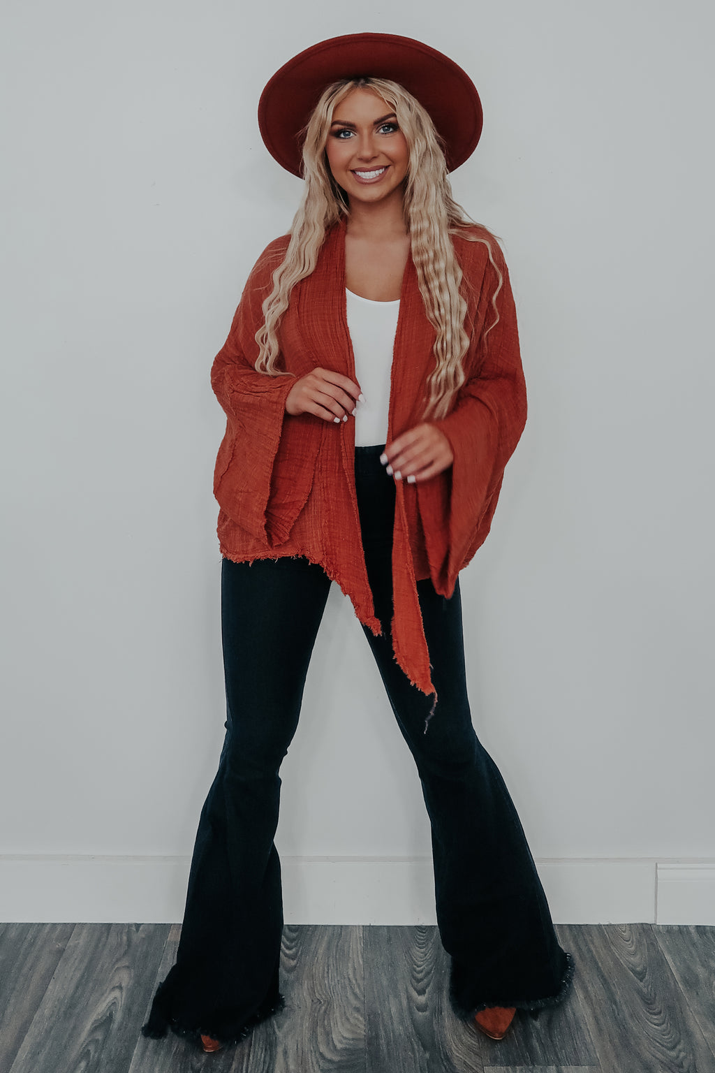 Wide Open Spaces Kimono: Burnt Orange