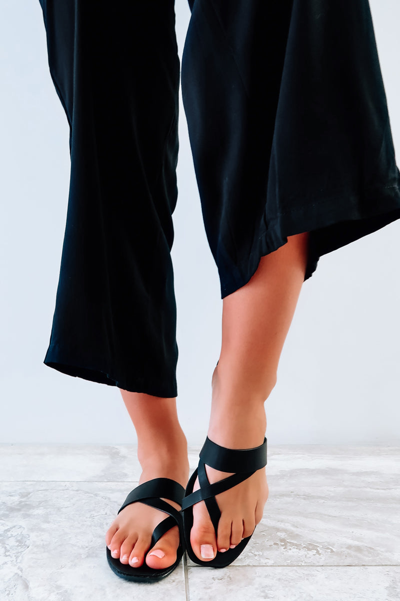 Send A Message Sandals: Black