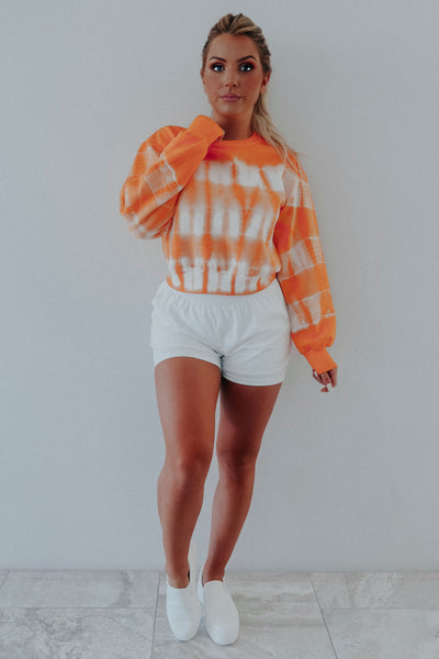 Play The Tunes Sweatshirt: Orange Tie Dye