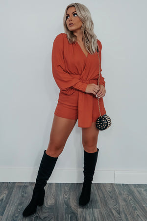 Fall Forever Romper: Burnt Orange