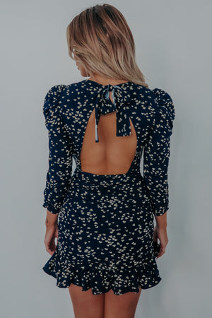 Catch My Heart Dress: Navy/Beige