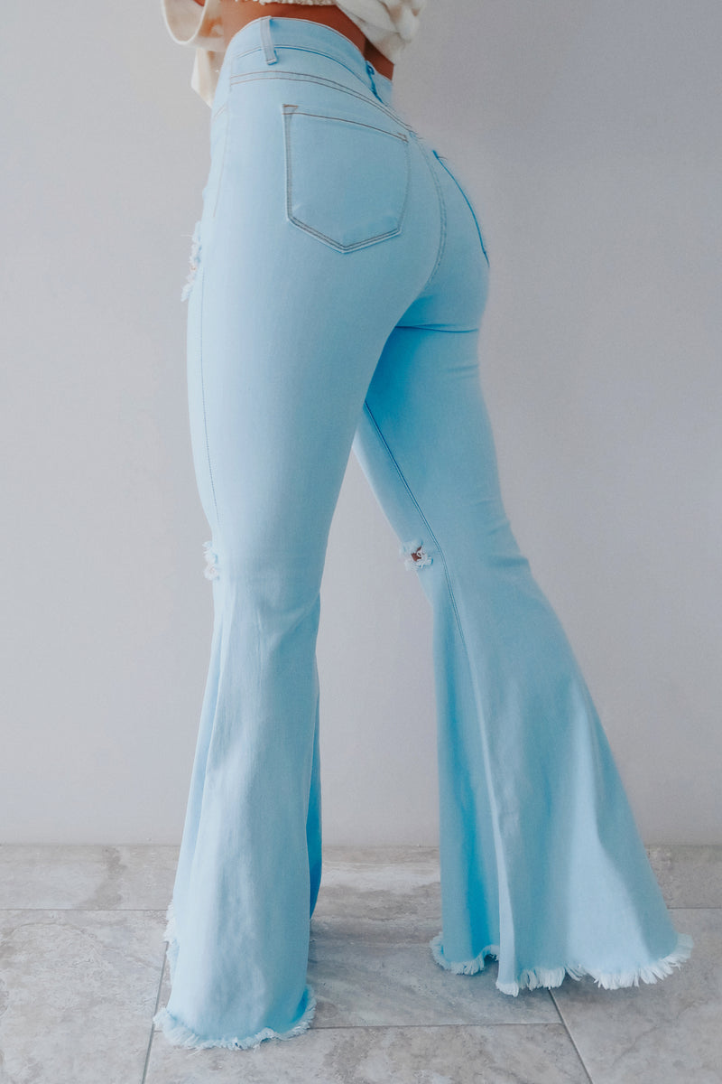 Right For Me Bell Bottoms: Light Denim