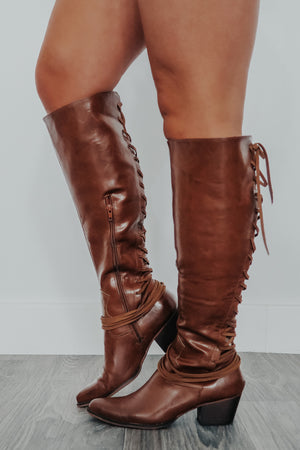Laced Up Boots: Cognac
