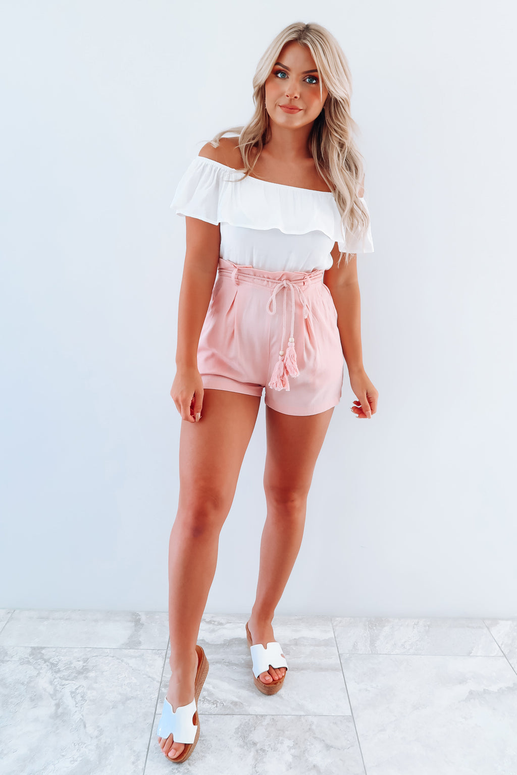 Making Time Romper: White/Baby Pink