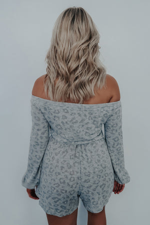 Do It Again Romper: Grey/Multi
