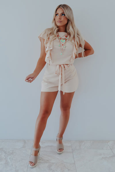 Sneak Into Love Romper: Peach