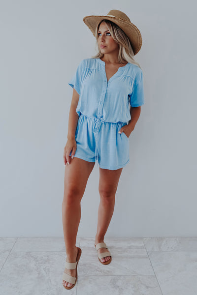 Make Things Easy Romper: Chambray