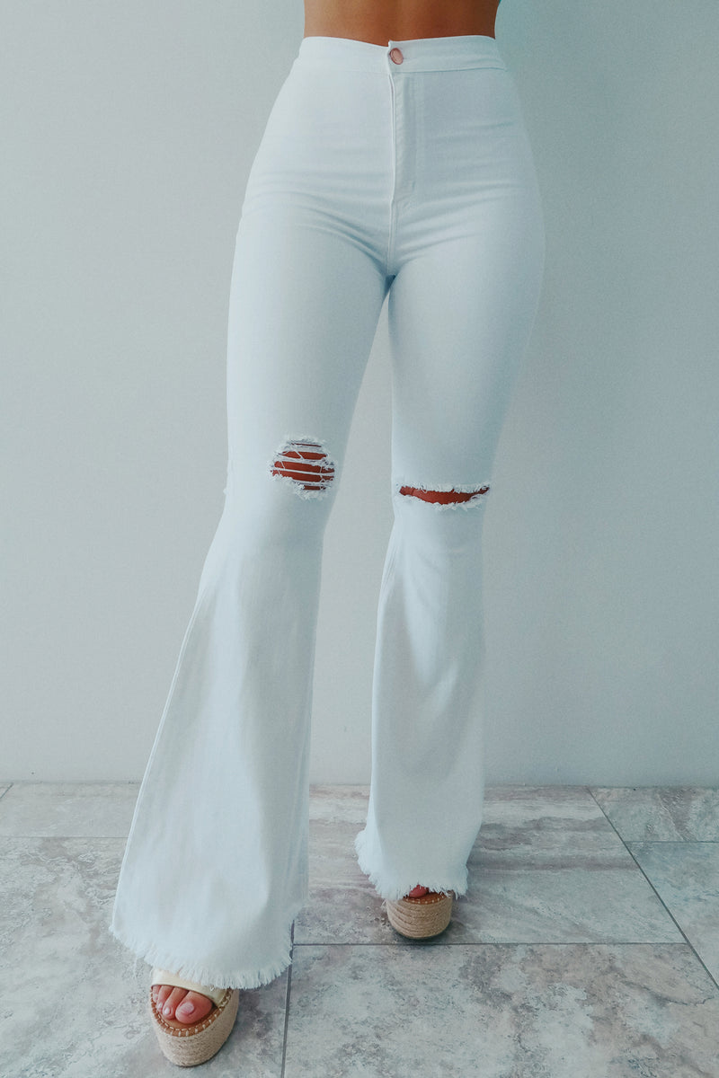 Right For Me Bell Bottoms: White
