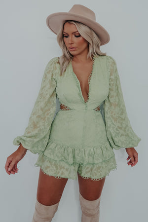 Tied Together Romper: Sage