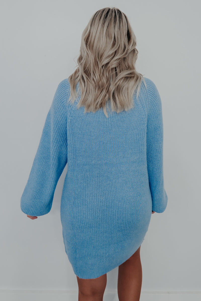 Comfy Living Sweater Dress: Baby Blue