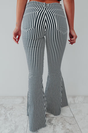 One Way Ticket Bell Bottoms: Black/White