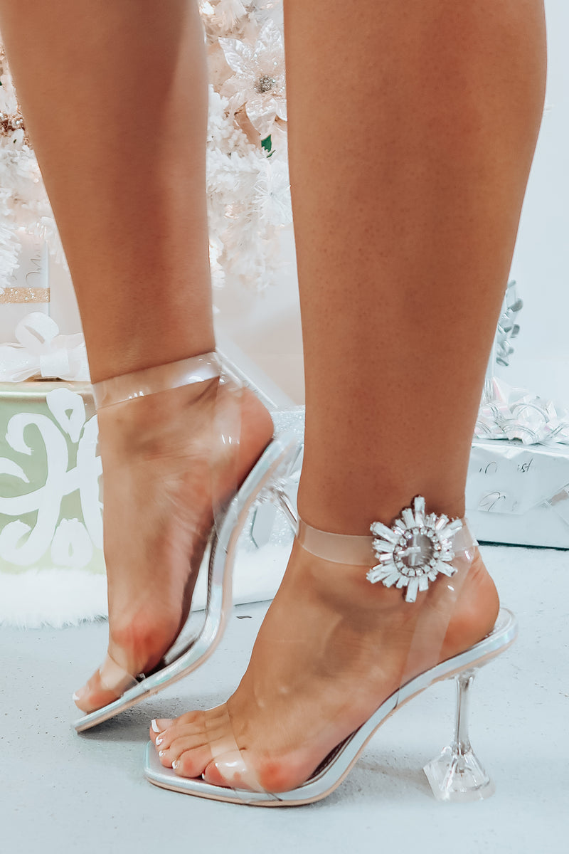 Last Holiday Heels: Clear/Iridescent