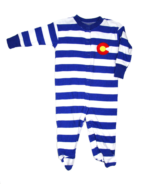 Colorado Organic Footie Stripe Royal Blue White