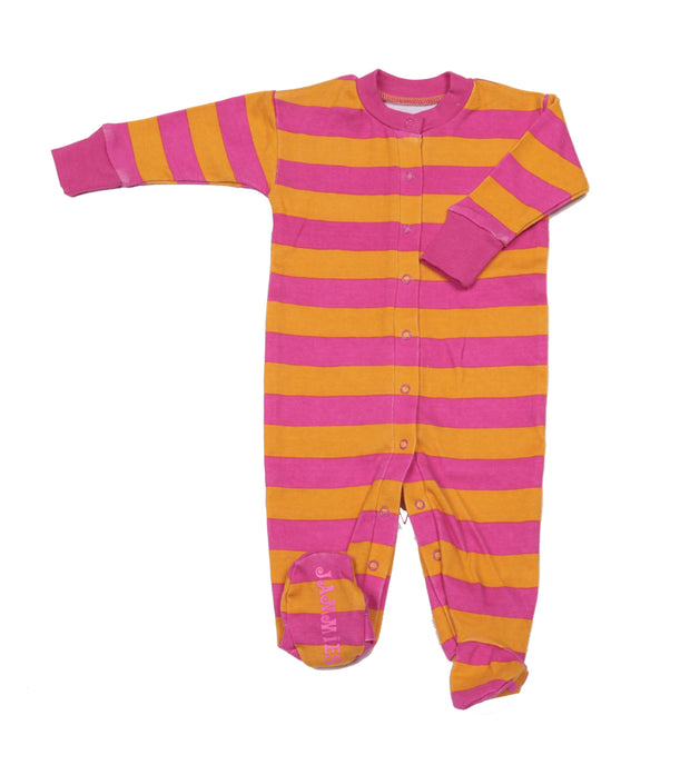 Classic Stripe Organic Footie Pink/Orange