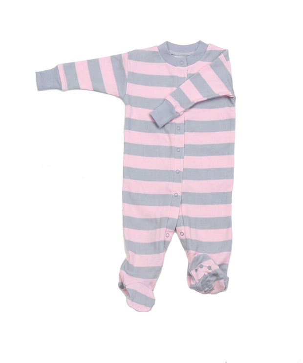 Classic Stripes Organic Footie Pink/Grey