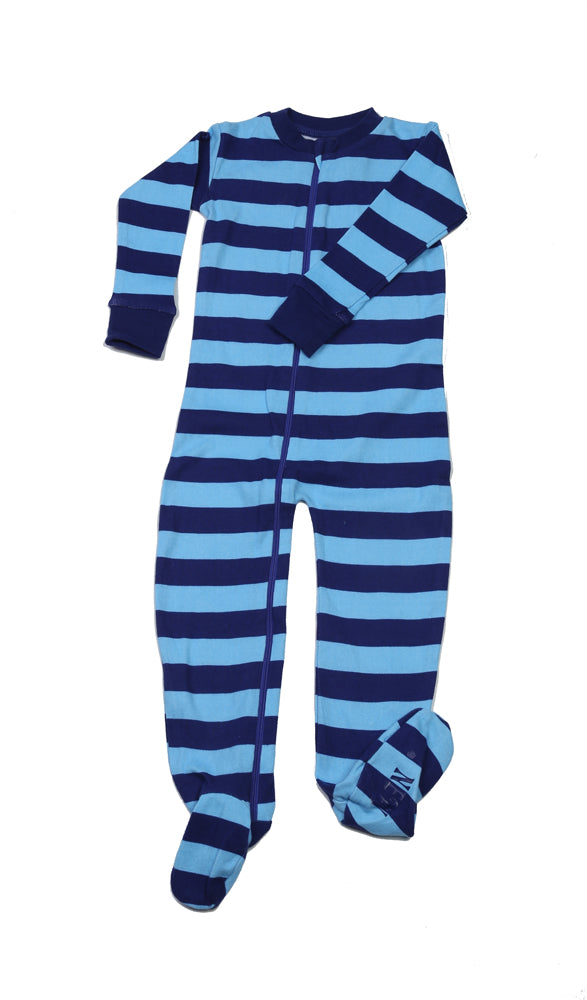 Classic Stripes Toddler Footie Blue