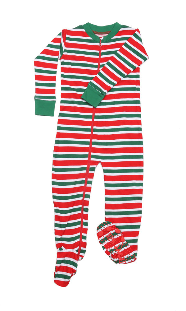 Christmas Stripes Toddler Footies