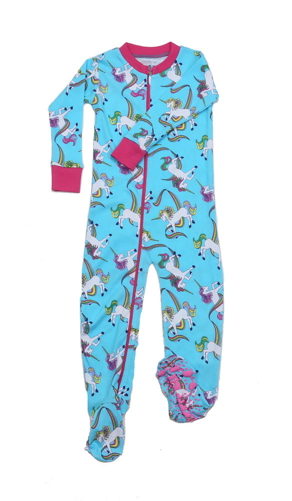 Rainbow Unicorns Blue Toddler Footie