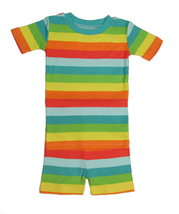 Rainbow Stripes Organic PJ Short Set
