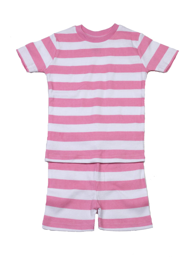 Classic Stripes PJ Short Set Pink/White