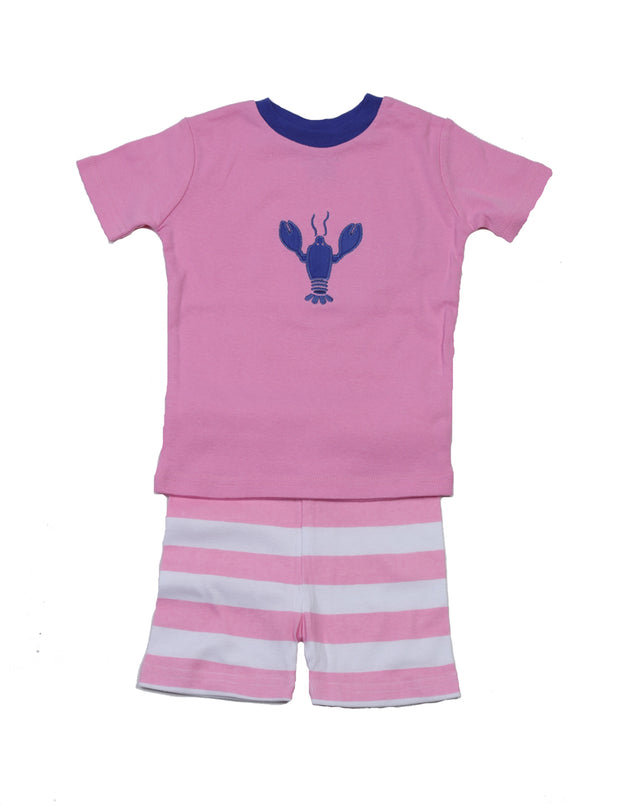Lobster Stripes Girls PJ Short Set Pink/White
