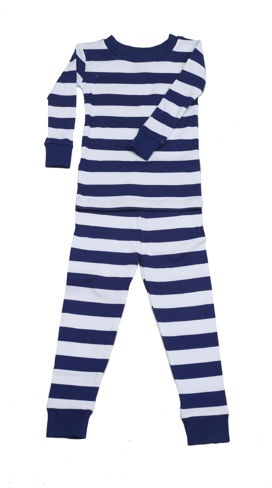 Classic Stripes Organic PJ Navy White