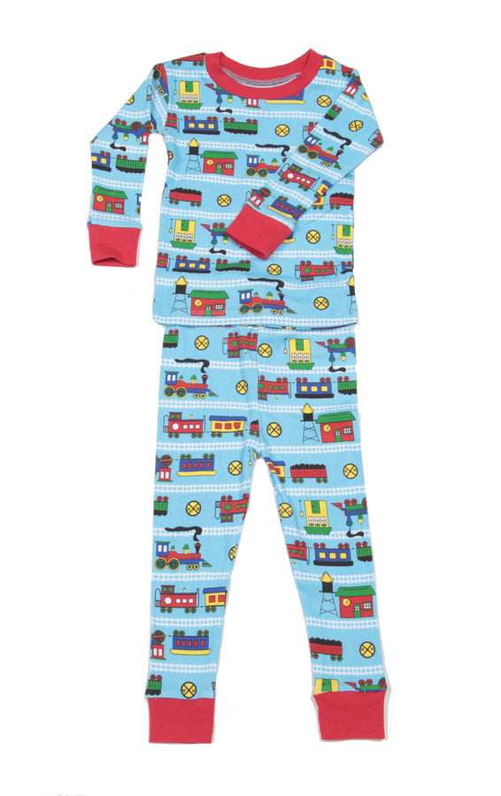 Trains Organic Cotton Pajamas