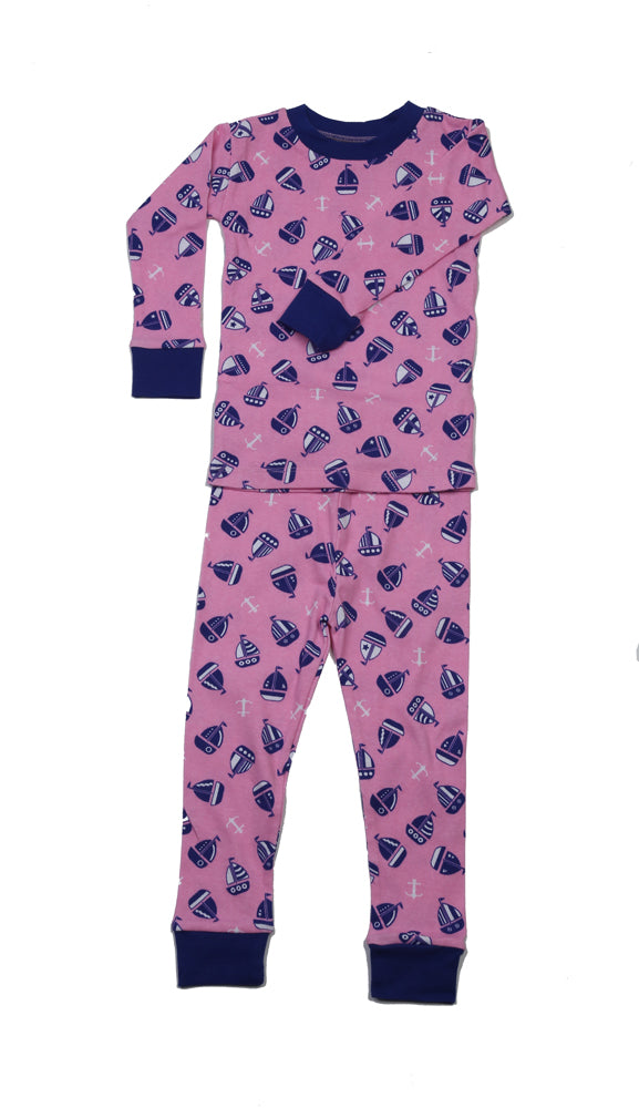 Sail Away Organic Cotton Pajamas Pink