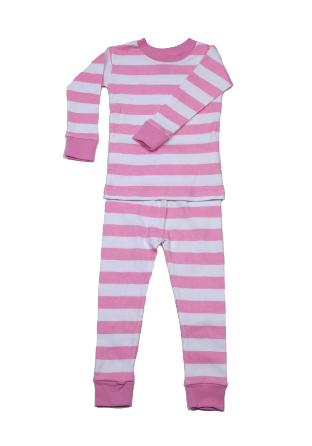 Classic Stripes Organic Cotton Pajamas Pink/White