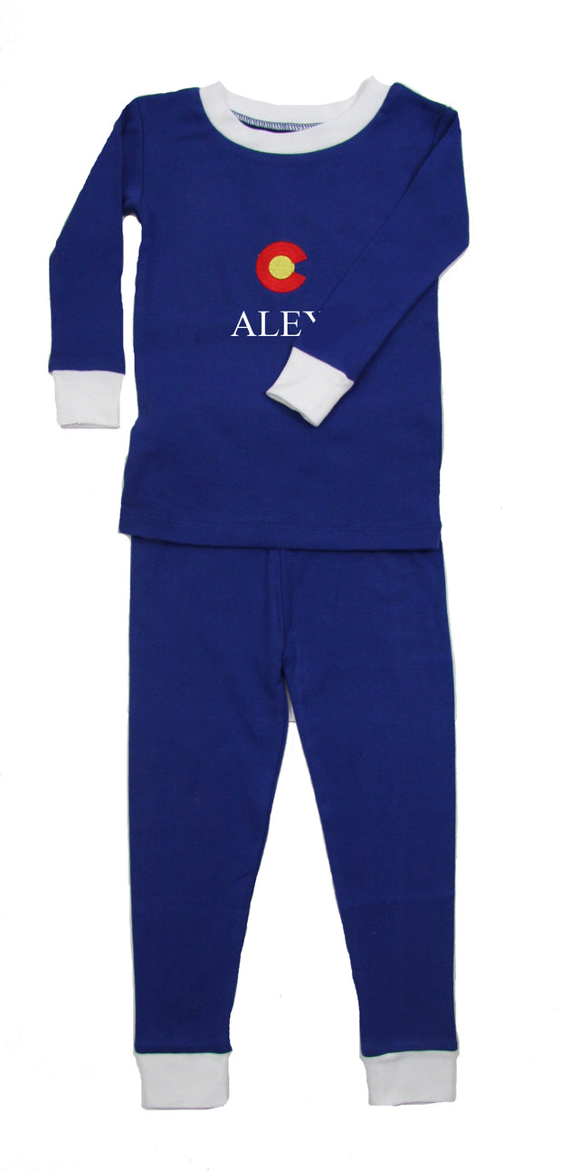 Colorado PERSONALIZED Organic PJ Navy