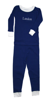 PERSONALIZED Simply Navy Organic Pajamas