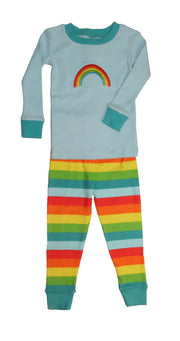 Applique Rainbow Stripes Organic Cotton Pajamas