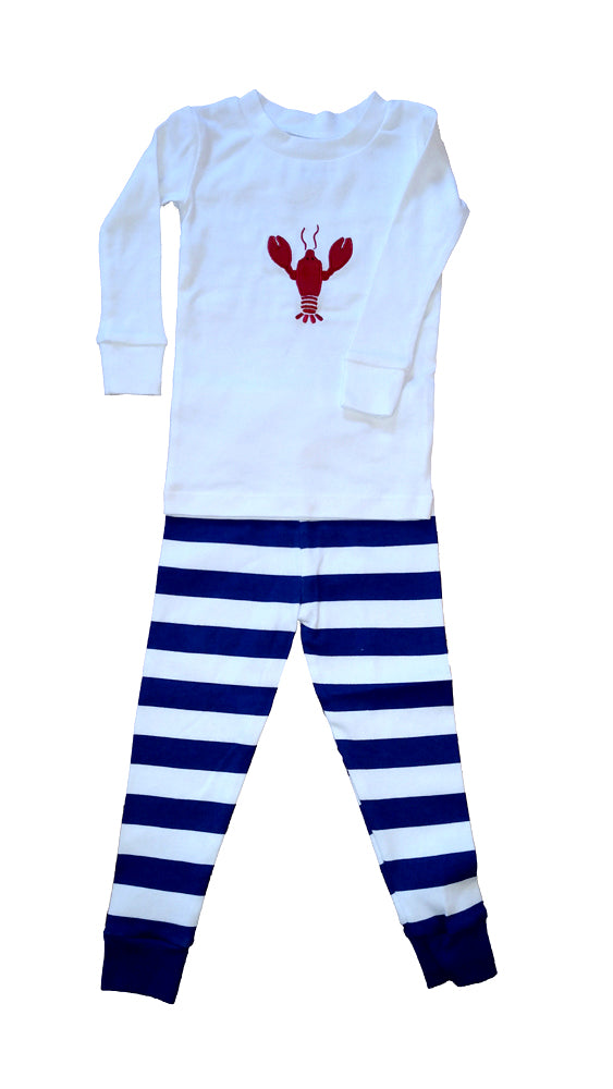 Lobster Applique Navy White Stripe Pajamas
