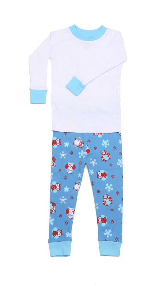 Snow Owls Solid Top Pajamas